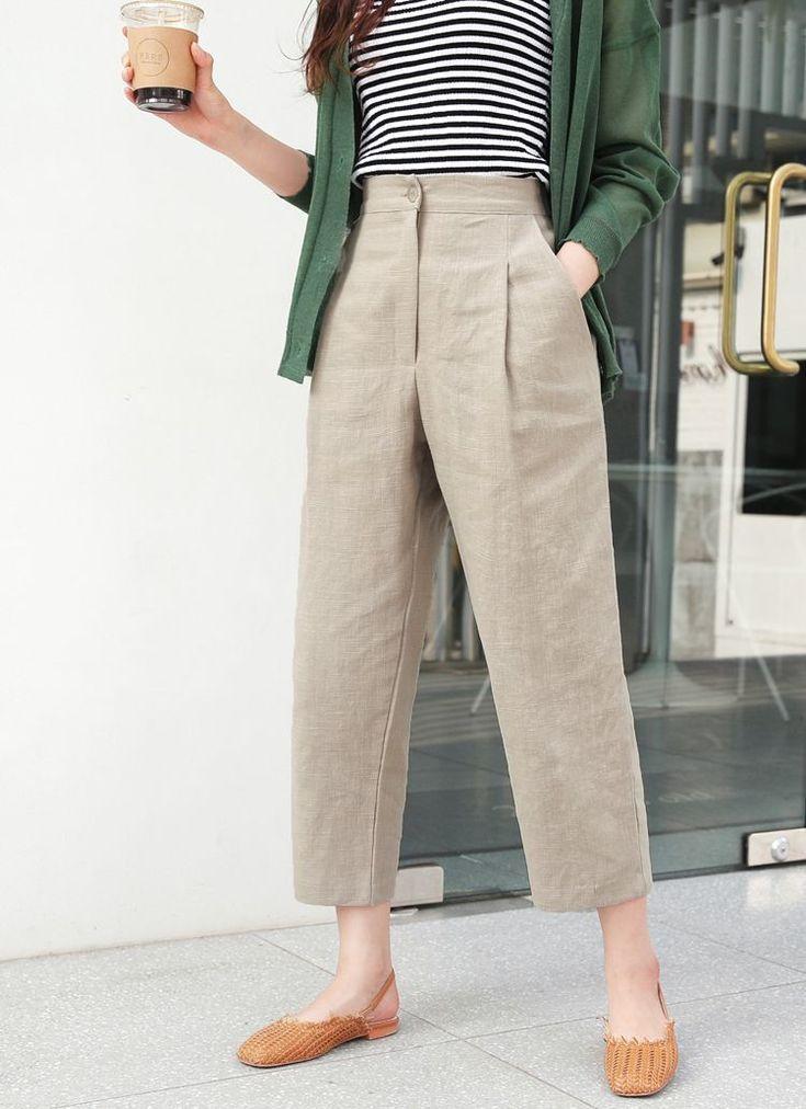 Cropped-Hose aus Leinen mit Reißverschluss · alle fünf Farben