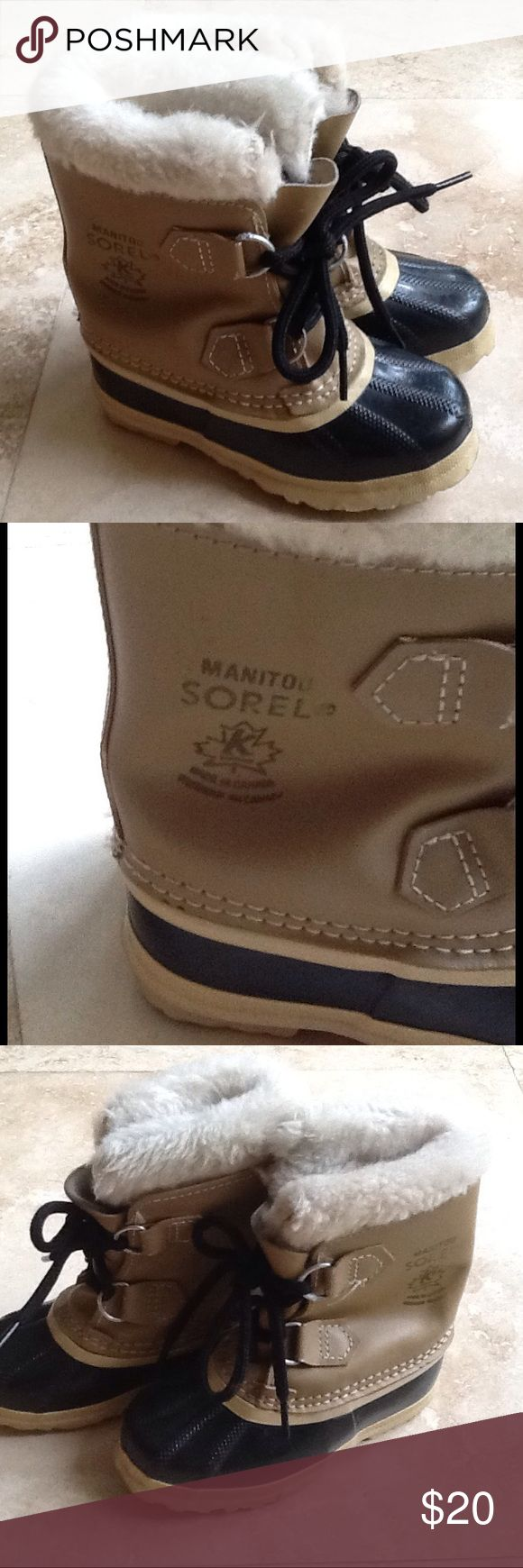 Sorel Duck Boots For Kids Duck boots. These are made in Canada. Removable inserts. Wool lined. No signs of wear. They are marked size 10 on bottom of boot. Very warm. Could be for. Girl as well.Price Firm...get ready for winter before the rush. Great price. Sorel Shoes Rain & Snow Boots