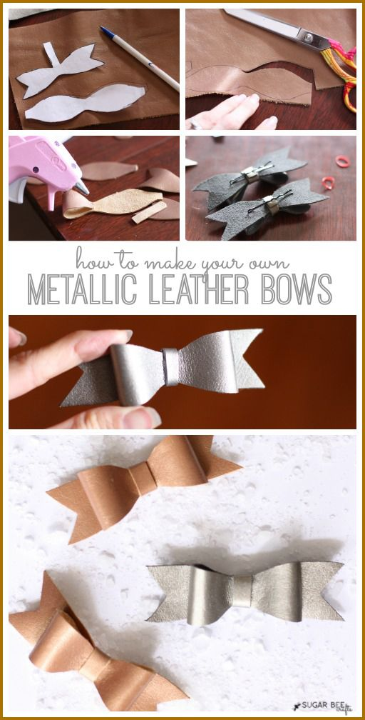how to make your own simple Metallic Leather Bows - so so cute!!  Sugar Bee Crafts