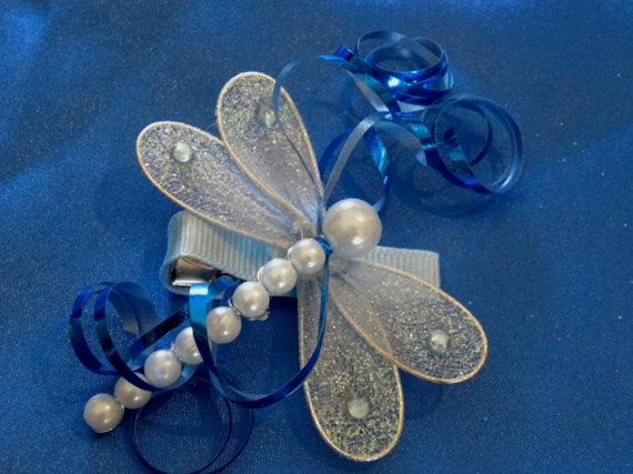 Hair Clip: Sparkly BABY BLUE Dragonfly by EllieGraceCrafts