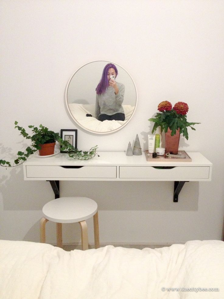 Create an IKEA Ekby Alex Vanity and have a dedicated spot to primp and prep. It's super simple and cute!