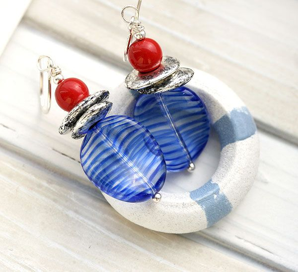 Red and Blue Earrings, Beach Jewelry, Marine Earrings, French Earrings, Navy Blue striped Earrings, Sea Jewelry, Beach Earrings by MayaHoneyJewelry on Etsy