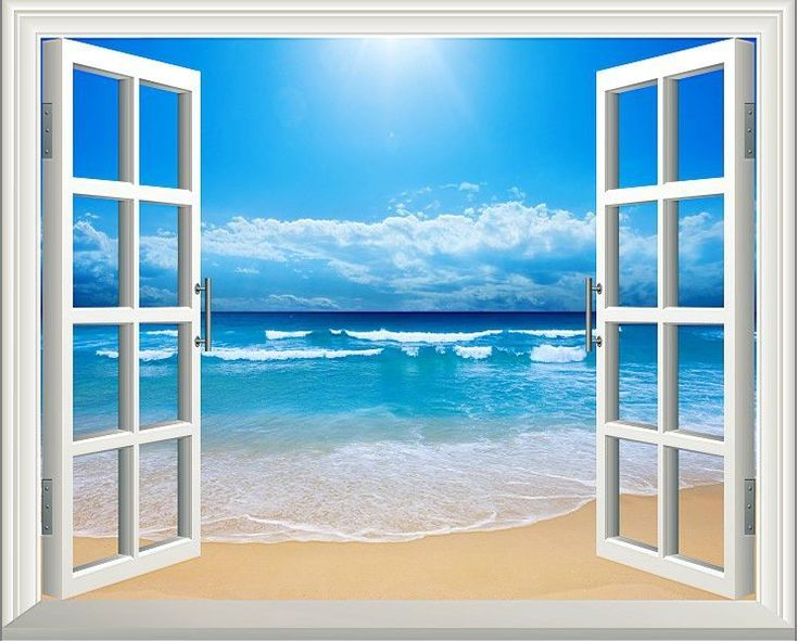 25 best ideas about beach wall murals on pinterest for Beach window mural