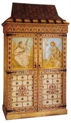 A painted cabinet  Designed by William Burges
