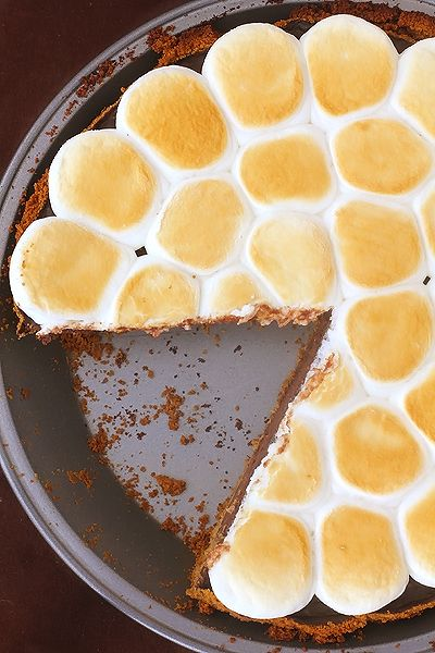 S'mores Pie. Made with graham cracker crumbs, butter, heavy cream, milk, semisweet chocolate, vanilla, salt, eggs, and marshmallows.