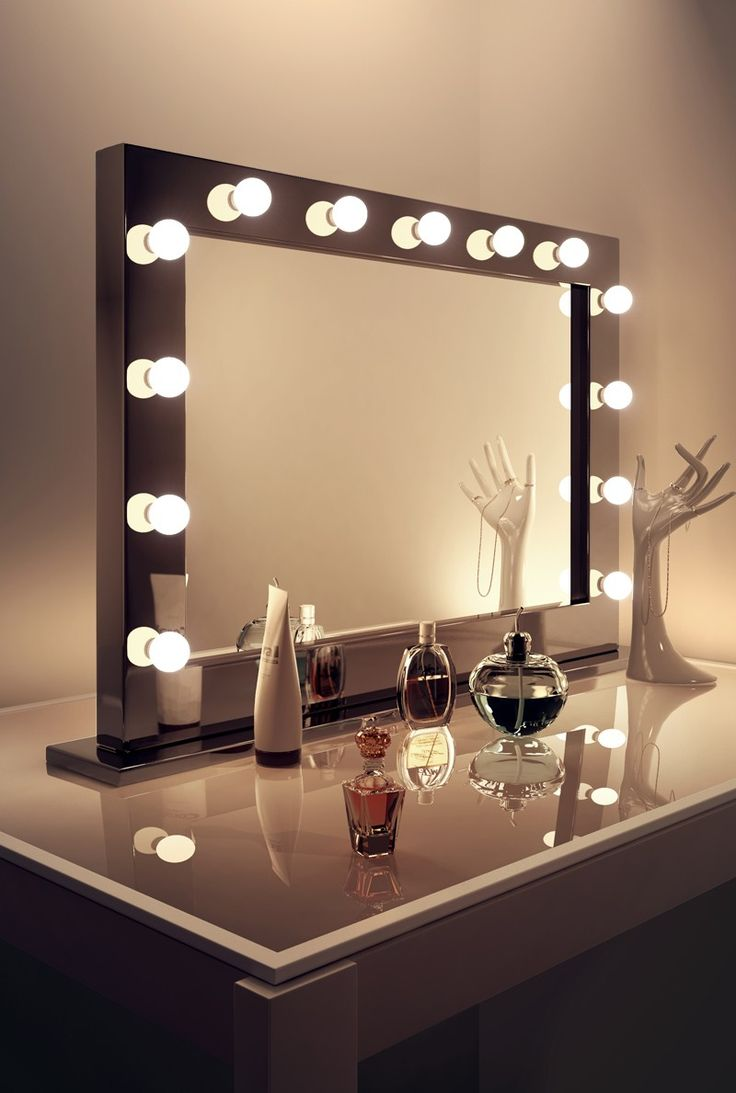 High Gloss Black Hollywood Makeup Dressing Room Mirror With Dimmable Bulbs  In Home, Furniture U0026 DIY, Bath, Mirrors