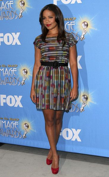 Sanaa Lathan Print Dress - Sanaa is mesmerizing in this colorful striped dress.