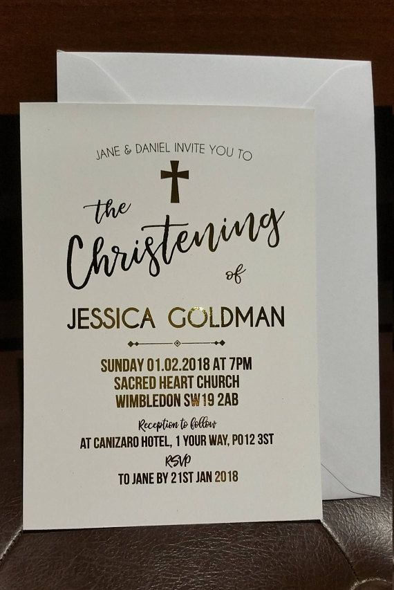 Real Gold Foil Print Christening Baptism Invitations
