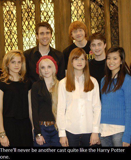 I love HP but I think the Friends cast is pretty comparable in fact I did compare them.  Ron-Ross Harry-Chandler Hermione-Rachel Ginny-Monica Luna-Phoebe Neville-Joey  Cho-Janice Think about it. -Ashley