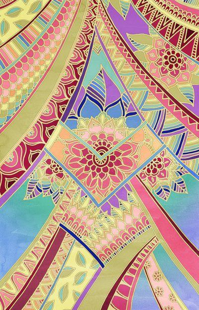 Rise and Shine - Rainbow Hued, Multi-Colored Doodle Art Print