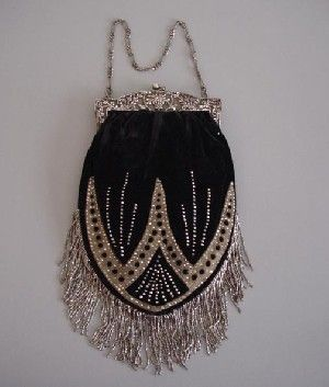 Early Victorian French Black Velvet Purse With Cut Steel Brads And Beads On The Tan Suede Design And Cut Steel Beads On The Velvet   c. Early 1800's