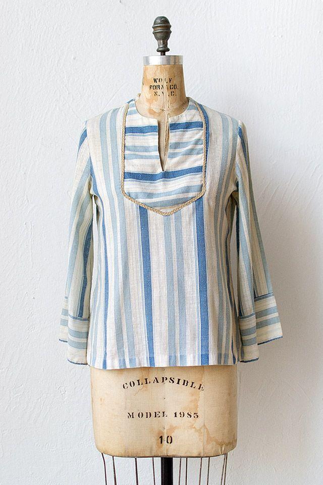 vintage 1970s blue striped hippie top | Godavari River Top