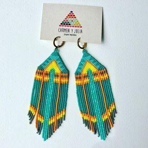 108 отметок «Нравится», 7 комментариев — Carmen & Julia Joyas Tejidas (@carmenyjulia) в Instagram: «Navajo Neon    #theartofmaking #sacred #bauhaus #crafts #statementearrings #weave #handmade…»