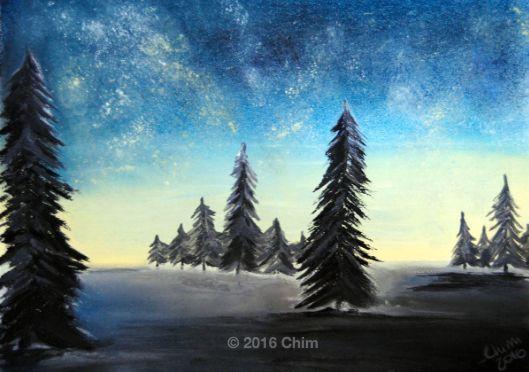 Soft pastels and acrylic paint.   alberi, Albero, Carta, cielo, inverno, night, notte, Paesaggio, sky, trees, winter.