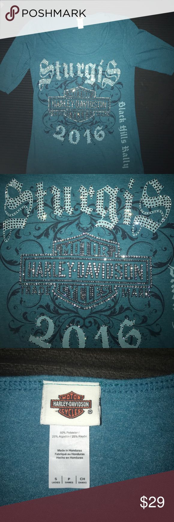 H-D GORGEOUS TEAL ALL BLING STURGIS 2016 H-D GORGEOUS TEAL ALL BLING FRONT STURGIS 2016 1/4 INCH SLEEVES ... MINT CONDITION Harley-Davidson Tops