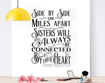 SALE Side by side or Miles Apart we are sisters by TempleStamping