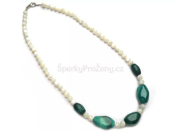 Náhrdelník Malachit + Perleť - Šperky pro ženy