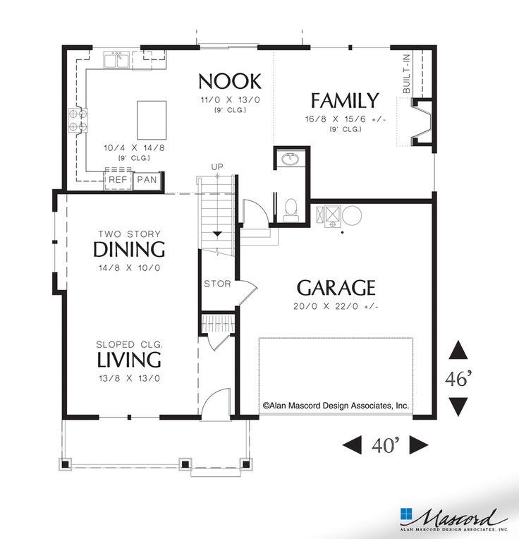 Main Floor Plan Of Mascord Plan 22125a The Brighton