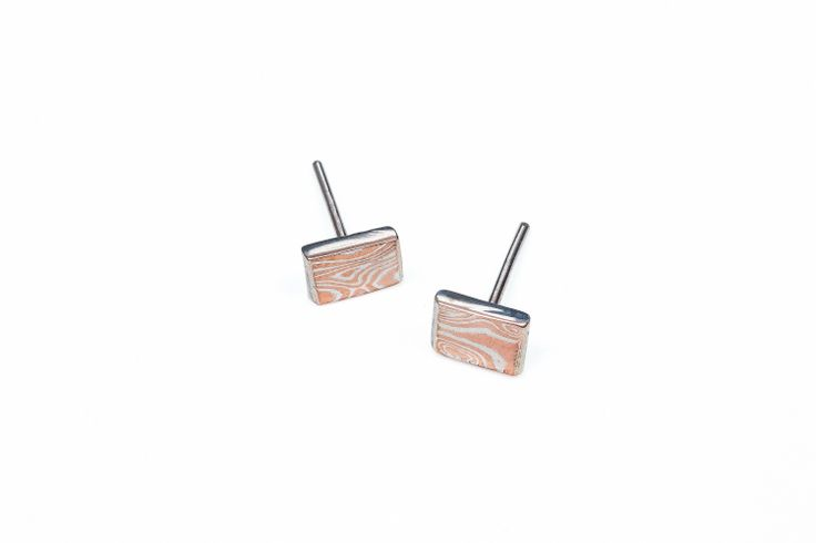 Mokume Gane Square Stud Earrings www.organicmetalgallery.com