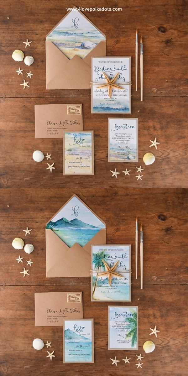 Rustic kraft paper wedding invitations with real starfish