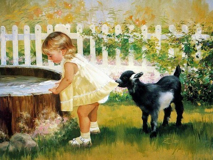 D.W.C. Cute Little Girls - Painter Donald Zolan | DANCE WITH COLORS