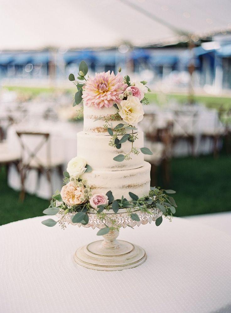 Halbnackte Vanille-Hochzeitstorte mit Dahlien   – Wedding Cakes