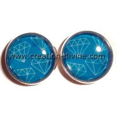 Boucles d'oreilles Diamants Bleus