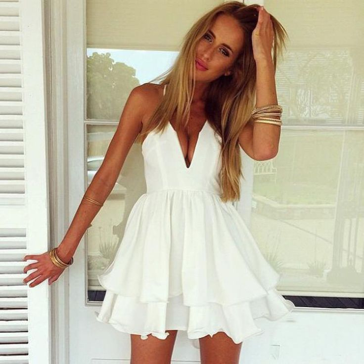 Sexy Women Summer Casual V Neck Party Evening Cocktail Short Mini Dress Tops #Unbranded #sexy #Casual
