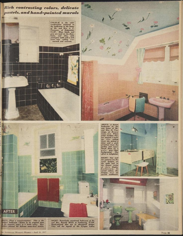 1950s bathrooms - from a home remodelling feature - 24 Apr 1957 - The Australian Women's Wee...