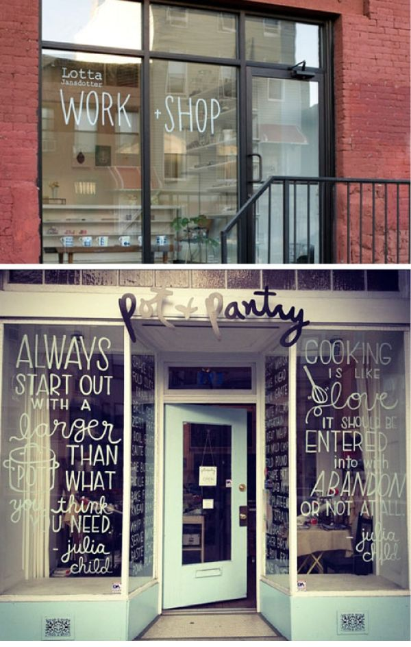 Clever typography. Great idea for a shop front.