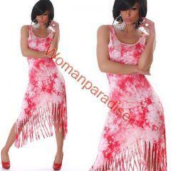 Aszimmetrikus fazonú, rojtos nyári ruha. Batikolt mintája igazi nyár idéző!