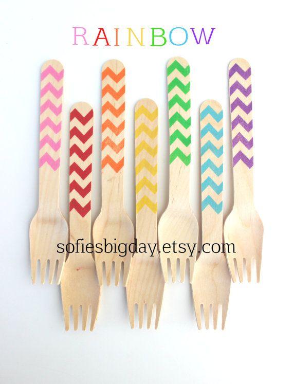RAINBOW Chevron forks-rainbow birthday-rainbow decor-rainbow chevron-rainbow chevron spoons-handstamped utensils-35