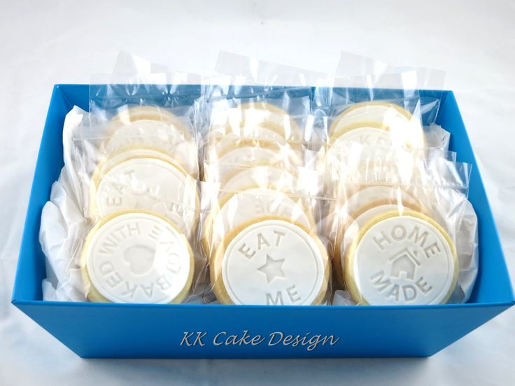 Stamped fondant vanilla butter cookies individually wrapped