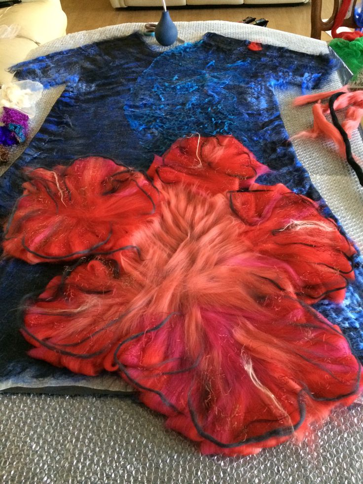 Felted dress with 3D flower by Nadin Smo design. www.nadinsmo.com