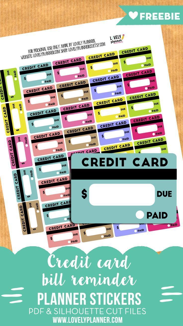 Free Credit Card Bill Reminder Stickers – Printable & Cut File – Lovely Planner