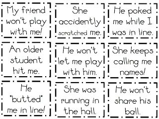 Tattling scenarios to teach kids what is an emergency (worthy of telling) and NOT an emergency