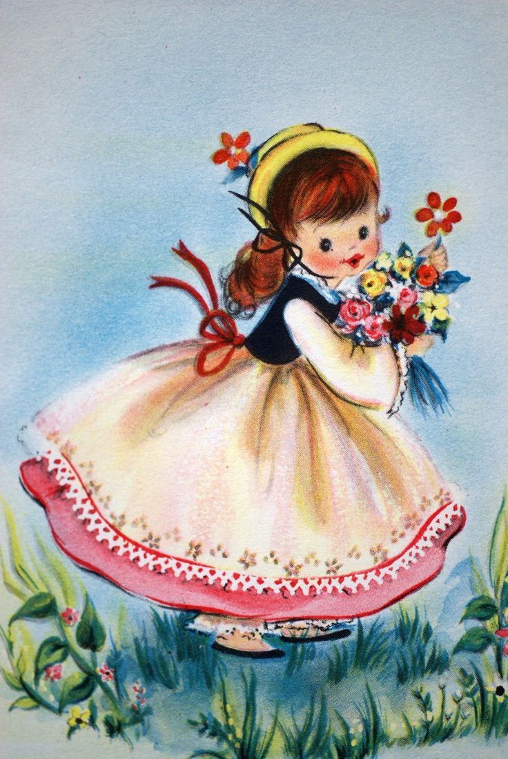 Vintage Hallmark 1950s Little Lady Greetings Notelet Card