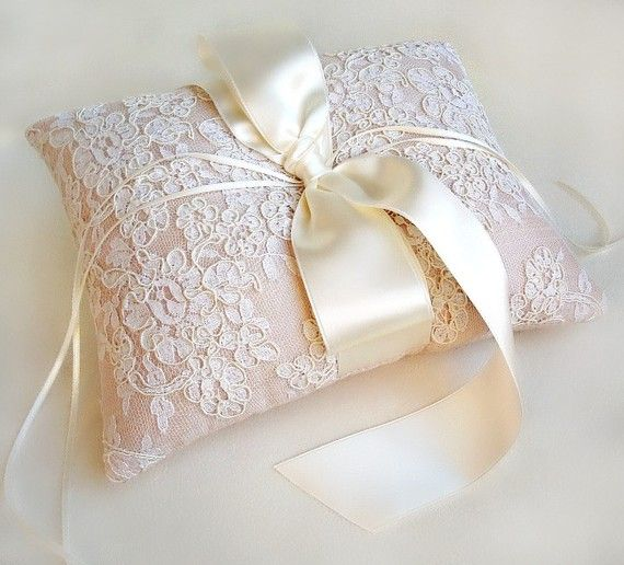 """Lillian Blush Pink Silk and Vintage Ivory ring bearers pillow. made with satin ribbons. Comes in blush or ivory, measures 8' by 10"""" ... Alencon by EmiciBridal, $120.00"""