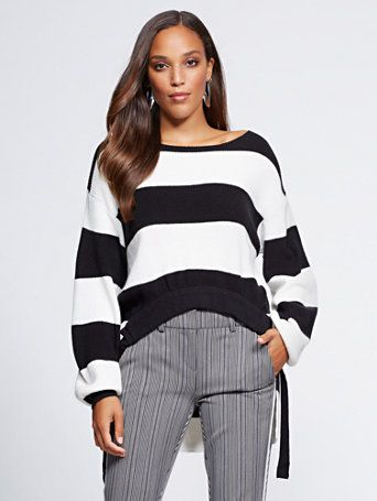 Shop Gabrielle Union Collection – Stripe Hi-Lo Sweater. Find your perfect size o…