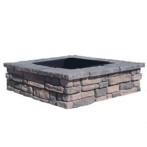 Rumblestone: DIY Random Stone Limestone Square Fire Pit Kit-RLSSFP at The Home Depot