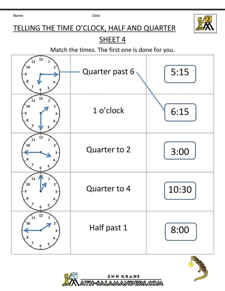 Time Worksheet O'clock, Quarter, and Half past Time