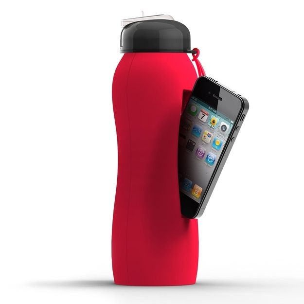 Water Bottle Storage: Silicone Water Bottle With IPhone Storage, $21