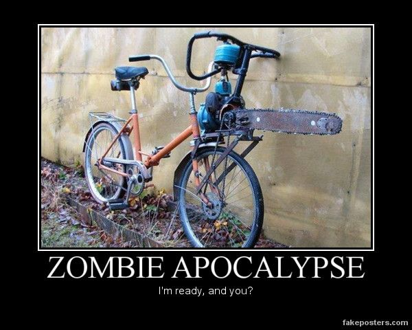 i question the wisdom of riding a bike during a zombie