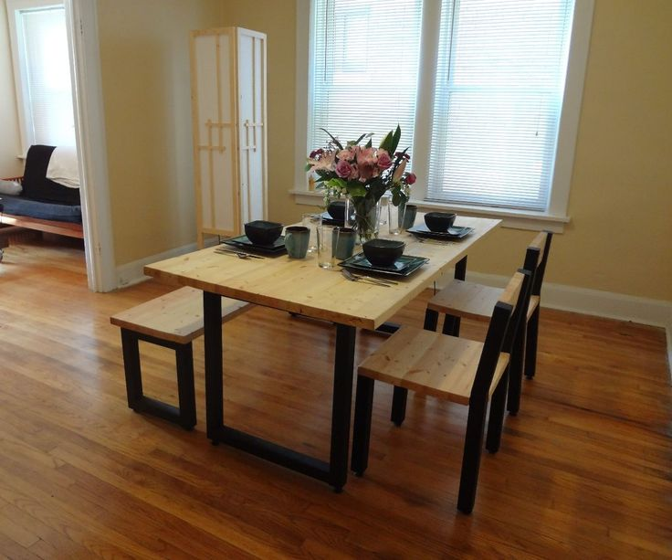 Steel and 2x4 full dining table set for Dining room table 2x4
