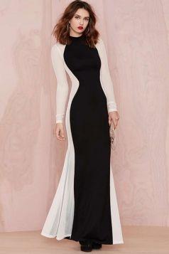 #Black #Elegant Womens Color Block #Maxi Crew Neck #Evening #Dress