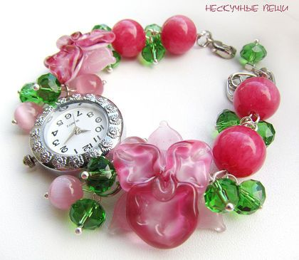 Часы `Тропический сад`  ПРОДАНО. Часы со стеклянными орхидеями ручной работы    Подробнее о том, как заказать товар, Вы можете узнать в правилах магазина www.livemaster.