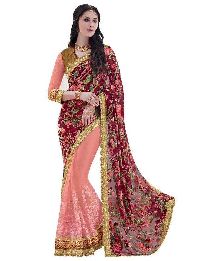 Naksh - Naksh Creation Embriodered Fashion Velvet And Glitter Net Sari
