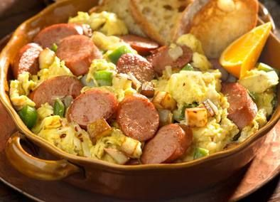 Try this ANDOUILLE SAUSAGE CAJUN SCRAMBLE Recipe. Egg lovers now have a quick and easy recipe to enjoy a delicious egg scramble any time. This recipe combines potatoes, onions, peppers, cheese, and salsa to an egg dish that finishes in a flash!