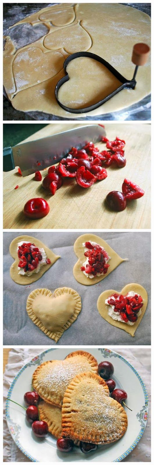 Sweetheart Cherry Pies (I'm SO going to use OTHER fruits like strawberries, peaches an stuff.....not really into cherries)