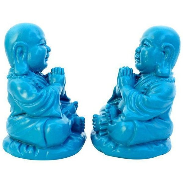 Turquoise Happy Buddhas Bookends - A Pair ($75) ❤ liked on Polyvore featuring home, home decor, models & figurines, outside statues, head statue, happy buddha statue, outdoor buddha statue and buddha head statue